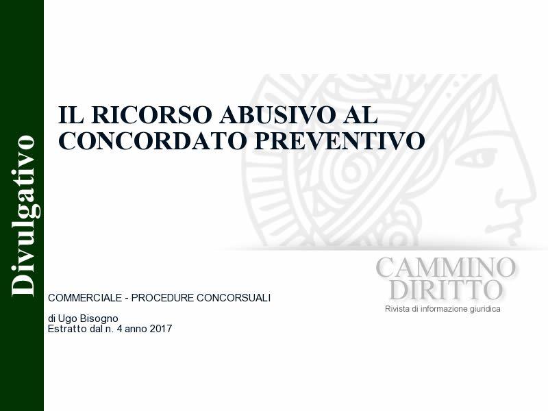 Il ricorso abusivo al concordato preventivo