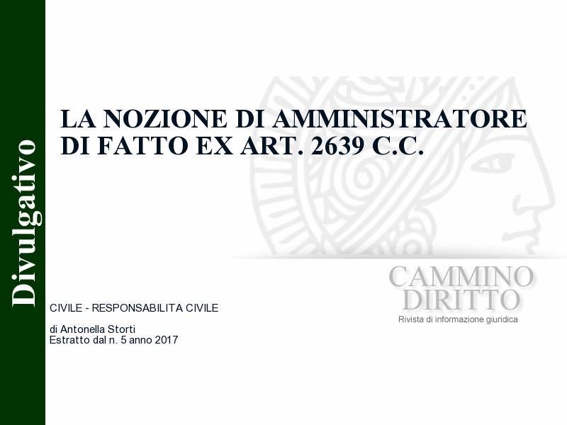 La nozione di amministratore di fatto ex art. 2639 c.c.