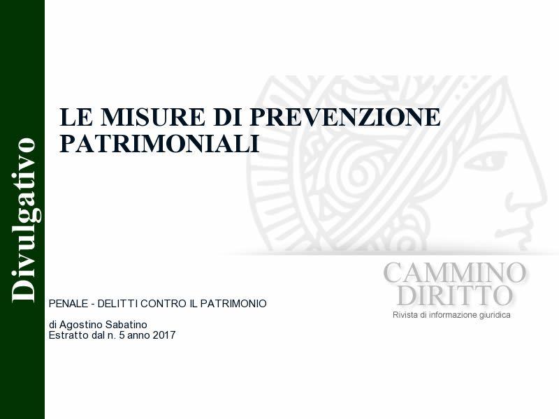 Le misure di prevenzione patrimoniali