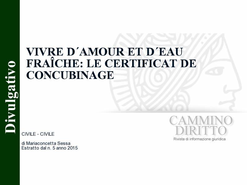 Vivre D Amour Et D Eau Fraiche Le Certificat De Concubinage